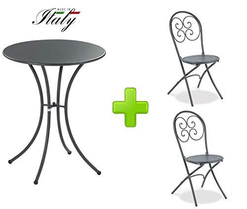 Emu Table pour extérieur Pigalle Kiss diamètre 60 cm + 2 Chaise pighevole Pigalle 924 - en Fer zingué et Verni à poussières - Couleur Fer Ancien Fantaisie 22 - Produit fabriqué en Italie