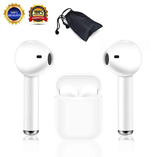 KEBIAO Auricolari Bluetooth, Vivavoce Android Smart Phone Auricolare Wireless Headset con Kit di Ricarica Mini in-Ear Microfono Auricolare…