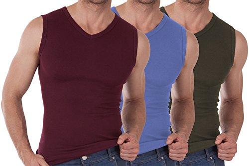 3er Pack Herren V-Neck Muscle Shirt Feinripp Exclusive Bordeaux / Carolina Blue / Olive-8
