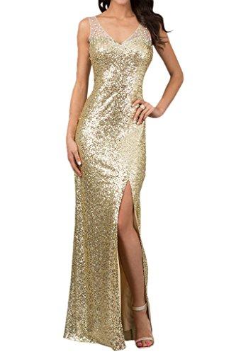 Ivydressing Damen V-Ausschnitt Paillette Lang Abendkleid-34-Golden