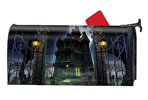 (prz0vprz0v Halloween Dark Castle Customized Magnetic Mailbox Cover Home Garden Cute Mailbox Wraps with Full-Surface Magnet On Back 21 x 18 Inches Waterproof Canvas Mailbox Cover)