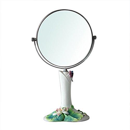 JILAN HOME Mirror- Lotus Leaf Schönheit Kosmetikspiegel Make-up Desktop Dressing Spiegel Doppelseitig rotierenden runden Harz High-Definition tragbare Spiegel zu Fuß Stand mirror ( größe : 8-inch )