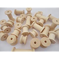 a2bsales 60 Natural Wooden Spools Wood Bobbins Craft Sewing Threading Puppet Toy Wheels