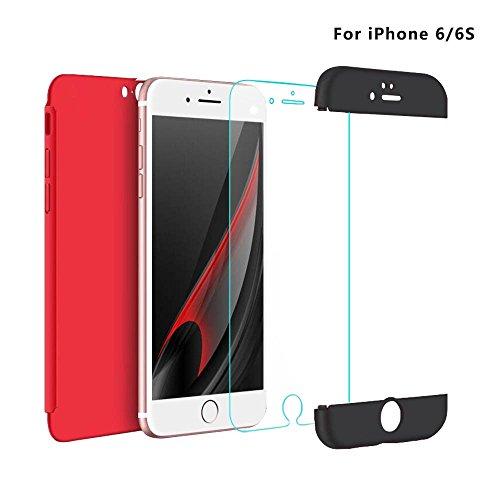 Coque iPhone 6 Plus /6S Plus, uiano® Protection 360 degrés Housse complète Protection 3 en 1 Combinaison Anti-Scratch PC Coque casque antidérapante ultra-mince Perfect Fit pour iPhone 6 Plus /6S Plus  Rouge + Noir