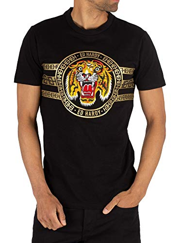 Ed Hardy Herren Tiger-Streifen-T-Shirt, Schwarz, L - T-shirt Ed Hardy