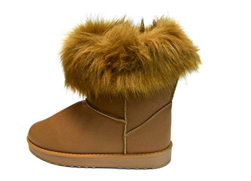 TMY- a 12–7 winterboots/bottes d'hiver pour femme avec doublure chaude avec fell. halbschaft schlupfstiefel avec fourrure amovible-couleur :  kaki-taille 36: Multicolore - Kaki