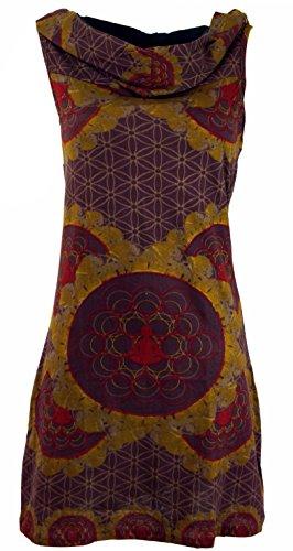 Guru-Shop Kapuzen Buddha Mandala Minikleid, Goa Festivalkleid, Damen, Moccabraun, Baumwolle, Size:M/L (38/40), Kurze Kleider Alternative Bekleidung