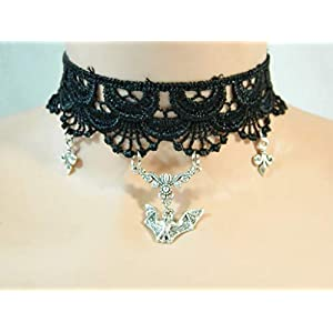 Fledermaus Fleur de lys Lilie Kette aus Spitze schwarz Choker Gothic Steampunk Bat Cosplay Damenkette