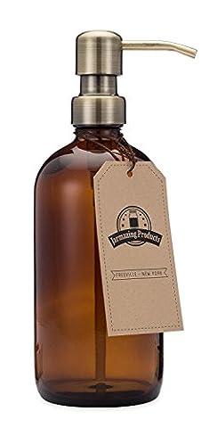 Jarmazing Products Ambre Bocal en verre Laiton Distributeur de savon