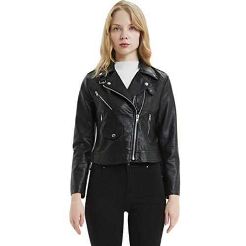 Lvguang Damen Jacke PU Leder Mantel Lederjacke Dünn Bomberjacke Kurz Biker Jacke Outwear (Schwarz, Asia S)
