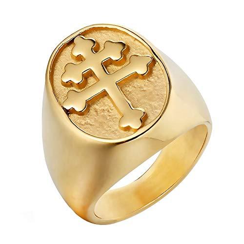 e49217d0ed31 BOBIJOO Jewelry - Anillo Anillo Anillo de Hombre de la Cruz de Lorena  Patriarcal Chapado en