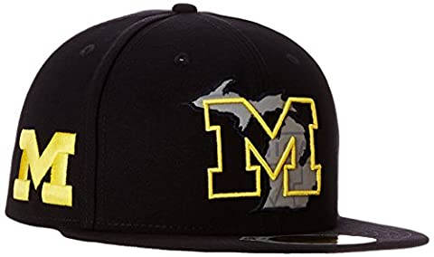 NCAA Michigan Wolverines State Flective Redux 59FIFTY Fitted Cap, 7.375, Blue