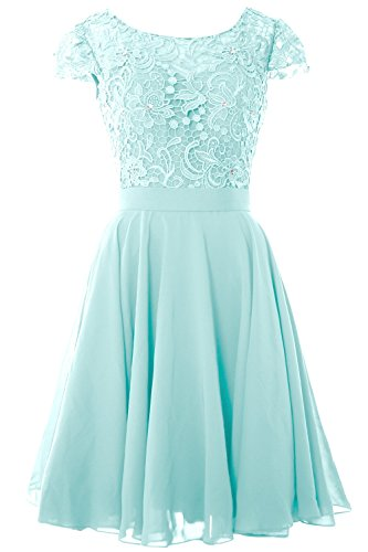 MACloth Women Cap Sleeve Mother of the Bride Dress Lace Short Formal Party Gown Aqua