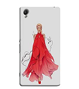 PrintVisa Cute Model Girl 3D Hard Polycarbonate Designer Back Case Cover for Sony Xperia L1