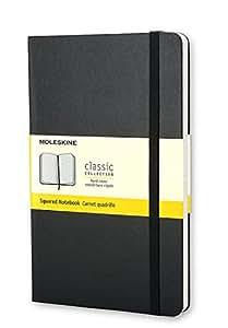 Moleskine Carnet quadrille Grand format Couverture rigide noire 13 x 21 cm