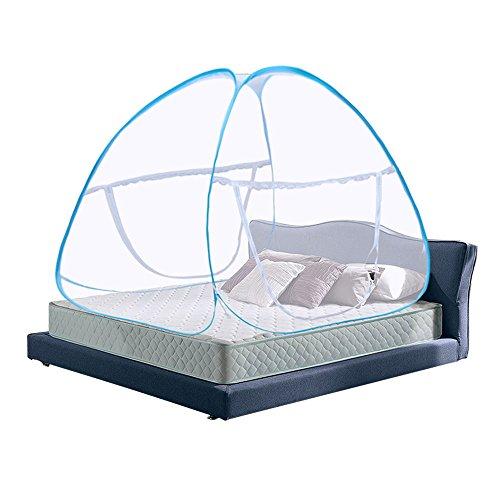 Zanzariera a baldacchino pop up pieghevole a doppia porta facile da installare con fondo anti zanzara punture per letto da campeggio viaggi casa outdoor blu (king size, 180*200*150cm)