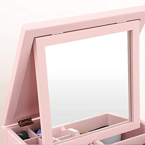 Zhuozi FUFU Tische Weiße Schminktisch Schminkspiegel Schmuck Schrank für Dressing und Make-up Drop-Blatt-Tabelle (Farbe : Pink) -