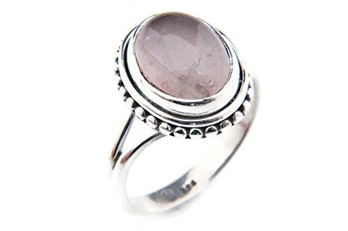 Ring Silber 925 Sterlingsilber Rosenquarz rosa Stein (MRI 76), Ringgröße:50 mm/Ø 15.9 mm (Antik Trachten Schmuck Ringe)