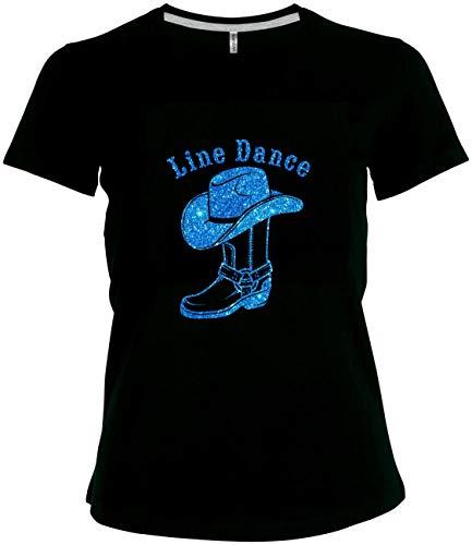BlingelingShirts Elegantes Glitzer Shirt Damen Line Dance Schriftzug Cowboystiefel mit Cowboyhut, schwarz, Gr. 52/54