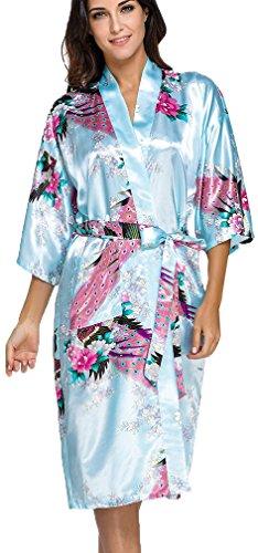 OLIPHEE Lange Kimonos für Damen Bademantel aus Satin mit Pfau und Blüten Morgenmantel Robe Hellblau 3XL (Satin Günstige Roben)