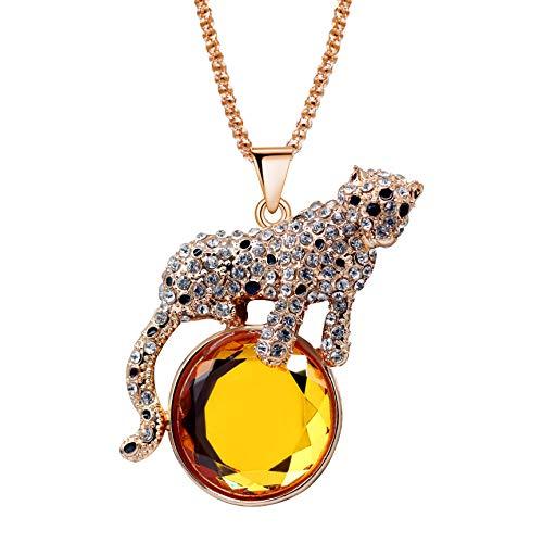 Uloveido Große Trendy Leopard Rising Sonne Kristall Rose Gold Überzogene Lange Halskette Allgleiches Stil Glänzende Kleidung Pullover Kette Halsketten Frauen YS842 (Gelb)