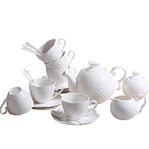 ufengke 15-Teilig Weiß Bildhauerisch Kaffeeservice Keramische Kaffeetasse Mit Untertasse Sets,...