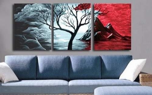 yeesam Art Leinwandbild New Malen nach Zahlen für Erwachsene Set 3Stück Multi Pack-Stücke Panels-Volcanic und Snow 7,6x 40,6x 50,8cm Leinengewebe-DIY Digital Malen nach Zahlen Kits With Frame -