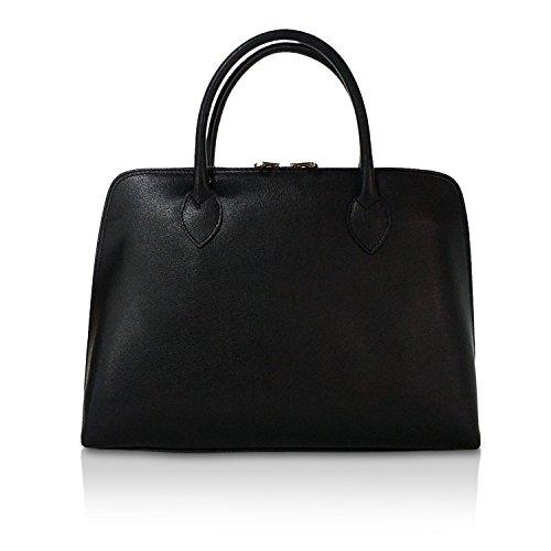 Glamexx24 Borsa vera Palle da Business Donna a mano , Casual Borsetta a tracolla, elegante Clutch Made in Italy 1.004 1.004.3 Black