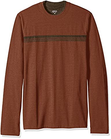 Arrow Men's Big and Tall Long Sleeve Stripe Crew Doubler Tee, Maple Syrup Heather, 4X-Large Tall