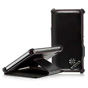 LEICKE MANNA | Étui housse coque de protection luxe pour Sony Xperia Z2 Stand EN CUIR VÉRITABLE* très élégant | CUIR de NAPPA 'Meerana' | Avec la fonction de mise en place (idéal pour la lecture de vidéos et textes)