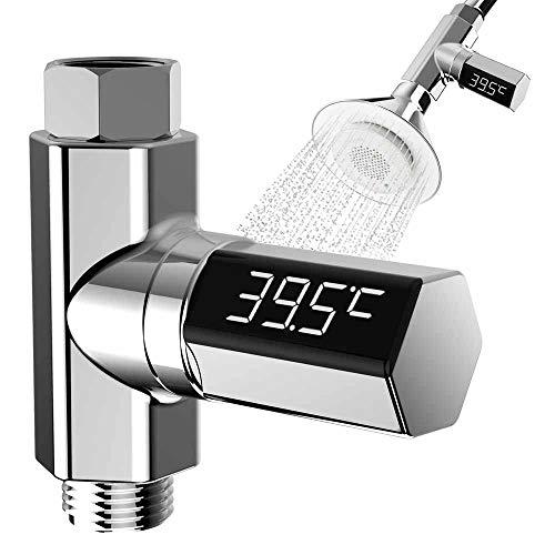 Duschthermometer Badethermometer mit Led-Display, 360 Grad-drehbarer Shower Thermometer mit 1/2 Zoll Schlauch, Batterielose Wasser Dusche Temperatur mit Bereich der 5-85 Grad für Badezimmer