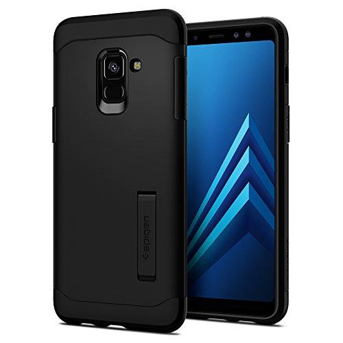 Spigen Slim Armor Samsung Galaxy A8 2018 Hülle, 2-Teilige Doppelte Schutzschicht Handyhülle mit Integrierten Kickstand Schutzhülle Case (Schwarz) 590CS22753