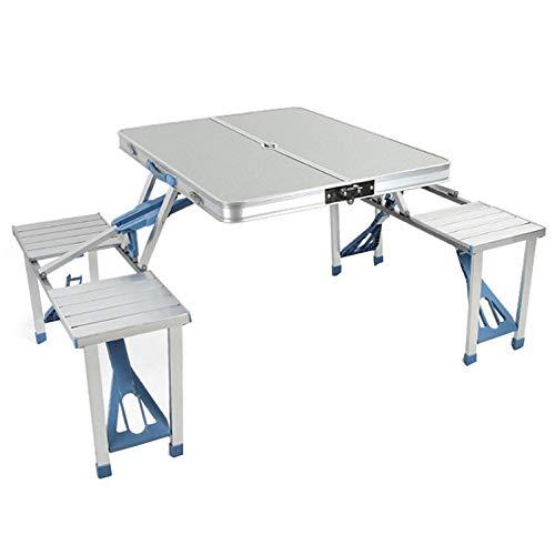 WU LAI Table Pliante en Aluminium | Tables Et Chaises Siamoises | Table De Bureau pour Activités De Plein Air | pour Restaurants, Hôtels,Silver-86x134x68cm