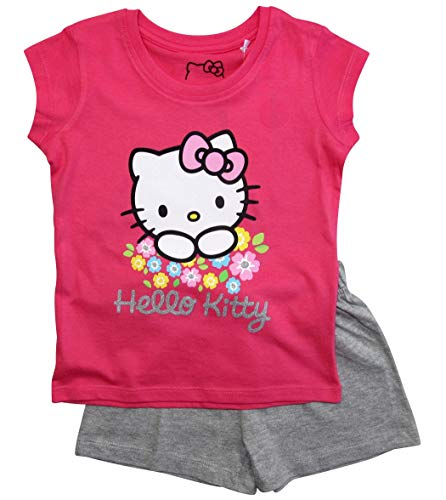 Hello Kitty Hose (Hello Kitty Schlafanzug Mädchen Shortie Pyjama Kurz (Fuchsia-Grau, 128))