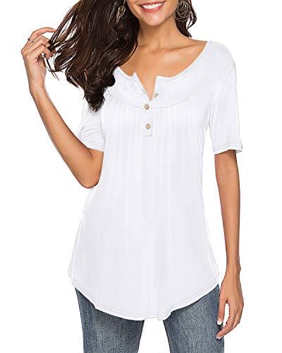ZJCTUO T-Shirt Damen Sommer Einfarbig Tunika Casual Bluse V-Ausschnitt Kurzarm Ärmellos Damenhemden Tops mit Knopf
