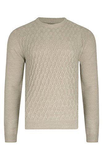 Baumwolle Runde Osmanischen (Threadbare Designer Marvel Herren Kabel Rundhals Sweatshirt - Osmanische Marl beige, S - 91-97cm Brust)