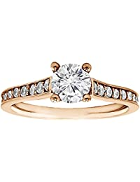 Silvernshine 1.32 Carat White Round CZ Diamond 18k Rose Gold Over Wedding Engagement Ring
