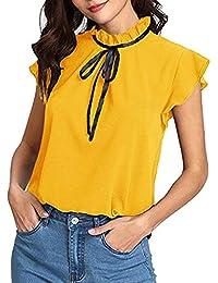 6e62968b260 Auifor Camiseta de Manga Corta con Pajarita para Mujer, Manga Larga, Blusa  de Gasa