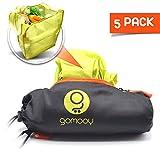 gomooy Set 5 Shopping Tote Bag Borsa Spesa Shopper Donna Riutilizzabili | Innovativo Astuccio Contenitore | Borse Passeggino Lotus Trolley Bags Pieghevole | Buste Carrello Supermercato |
