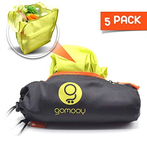 GOMOOY Borsa Spesa Per Carrello Supermercato | Set 5 Shopping Tote Bag Donna Borse Passeggino | INNOVATIVO ASTUCCIO CONTENITORE | Shopper Pieghevole Riutilizzabile Lotus Trolley Bags