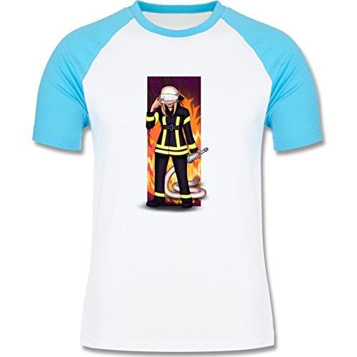 Feuerwehr - Coole Feuerwehrfrau - zweifarbiges Baseballshirt für Männer Weiß/Türkis