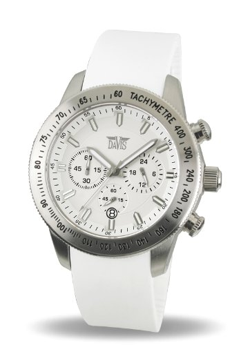 Davis 1692-Women's Watch Analogue Quartz White Dial White Rubber Strap