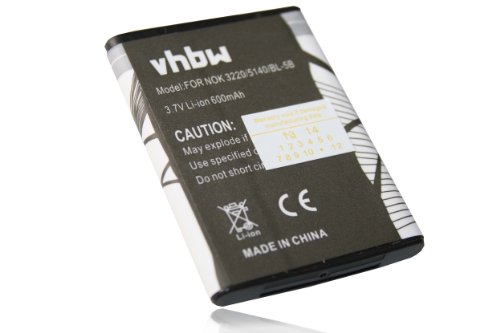vhbw Li-Ion Akku 600mAh (3.7V) für Smartphone, Telefon, Handy TOPBLUE TB-521, VERTU...