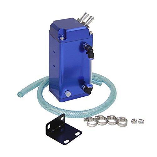 primecooling quadrato in alluminio motore Olio cattura serbatoio sfiato può + tubo universale blu