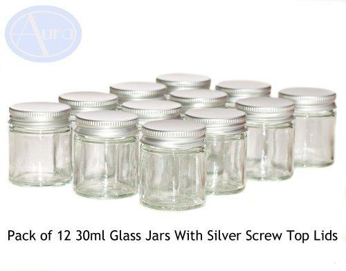 12er-PACKUNG - 30ml KLARGLAS-Behälter mit SILBERNER Verschlusskappe für Aromatherapie-Mischungen / Cremes -