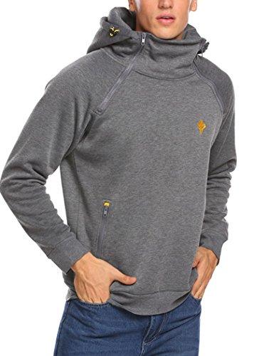 Burlady Kapuzenpullover Herren Zipper Hoodie Einfarbig Jacke für Winter Grau