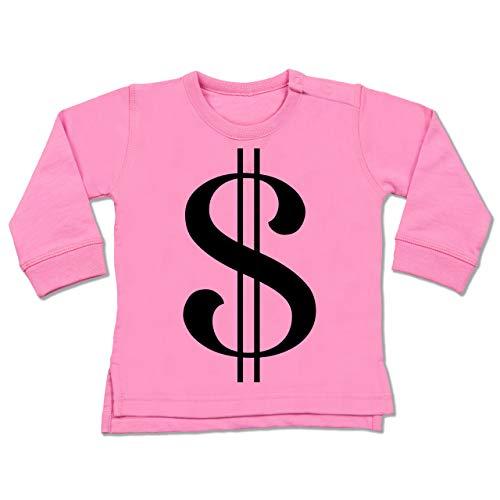 Shirtracer Karneval und Fasching Baby - Dollar Kostüm - 6-12 Monate - Pink - BZ31 - Baby Pullover (Dollar Baby Kostüm)