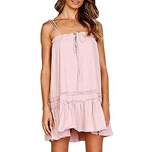 AMUSTER Damen Elegant Rückenfreies Abendkleid Cocktailkleid Sommerkleid Spaghetti Trägerkleid Damen Ärmelloses Strandkleid Tank Kleid