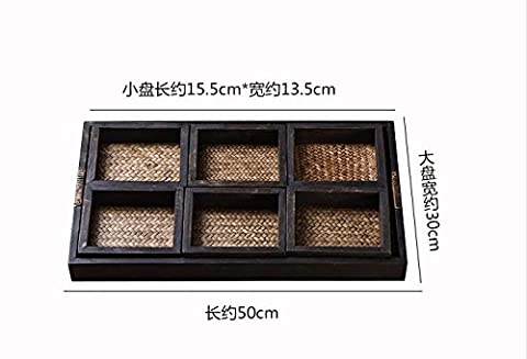 XX&GXM et du simple plateau rectangulaire plateau bois massif plateau thé bambou sous-verres, A, sept pièces d'ensemble