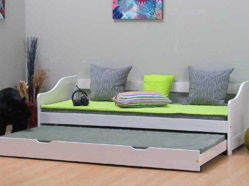 Kojenbett inkl. extra Bett 2x Lattenroste Kiefer weiss lackiert thumbnail
